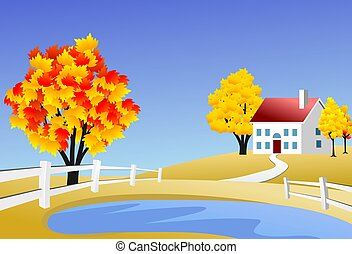 Scenic farm landscape - An illustration of scenic landscape...