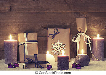 Vintage And Shabby Chic Purple Christmas Gifts With Candles...