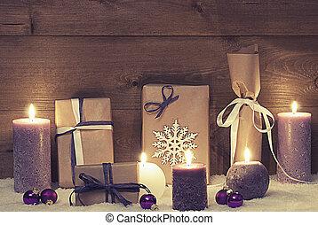 andrajoso, púrpura, vendimia, regalos, velas, elegancia,...