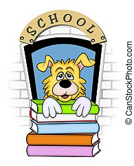 Tired of book reading - An illustration of cartoon Doggy...