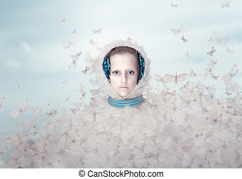 Fantasy. Futuristic Woman with Flying Butterflies