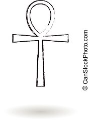 Ankh cross pencil drawing set vector illustration, Egyptian...