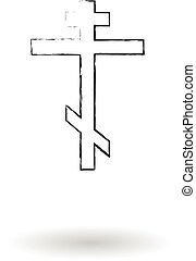 Orthodox cross pencil sketch vector illustration