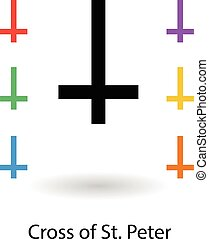 Cross of St. Peter vector illustration. Colored cross icons