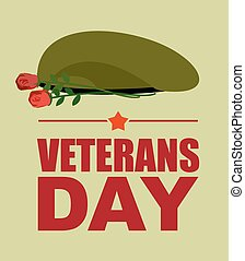 Soldiers green beret and flowers Veterans Day Vector...