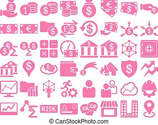 Business Icon Set. These flat icons use pink color. Vector...