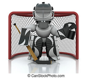 Ice hockey Goalie - 3D render of an ice hockey netminder