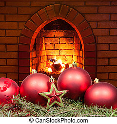 red star and Xmas bubles and home fireplace - red star and...