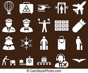 Airport Icon Set These flat icons use white color Raster...