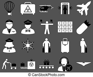 Airport Icon Set These flat bicolor icons use black and...