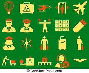 Airport Icon Set These flat bicolor icons use orange and...