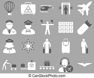 Airport Icon Set These flat bicolor icons use dark gray and...
