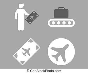 Aviation Icon Set These flat bicolor icons use dark gray and...