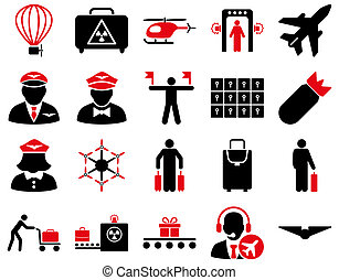 Airport Icon Set These flat bicolor icons use intensive red...