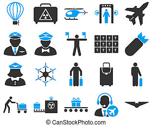 Airport Icon Set These flat bicolor icons use blue and gray...