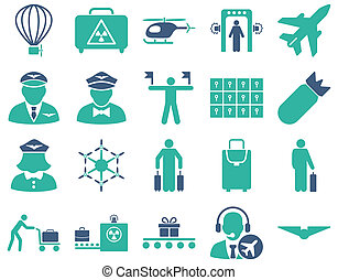 Airport Icon Set These flat bicolor icons use cobalt and...