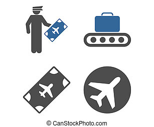 Aviation Icon Set These flat bicolor icons use cobalt and...