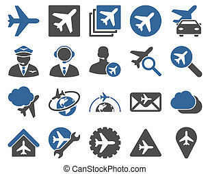 Aviation Icon Set. These flat bicolor icons use cobalt and...
