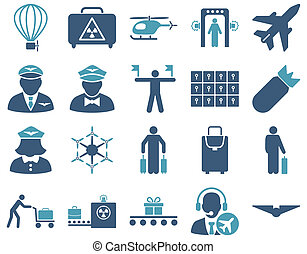 Airport Icon Set These flat bicolor icons use cyan and blue...