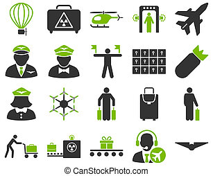 Airport Icon Set These flat bicolor icons use eco green and...