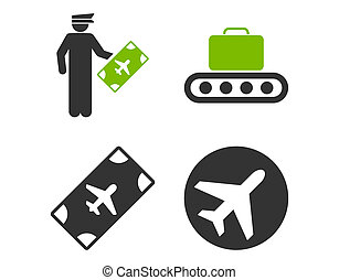 Aviation Icon Set These flat bicolor icons use eco green and...