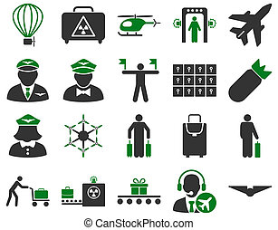 Airport Icon Set These flat bicolor icons use green and gray...