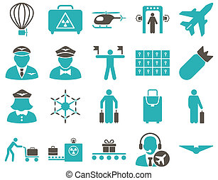 Airport Icon Set These flat bicolor icons use grey and cyan...
