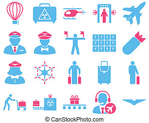 Airport Icon Set These flat bicolor icons use pink and blue...