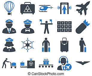 Airport Icon Set These flat bicolor icons use smooth blue...