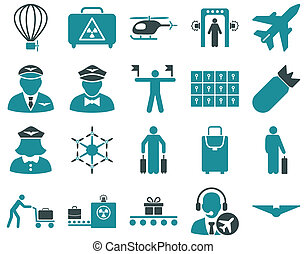 Airport Icon Set These flat bicolor icons use soft blue...