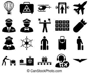 Airport Icon Set These flat icons use black color Raster...