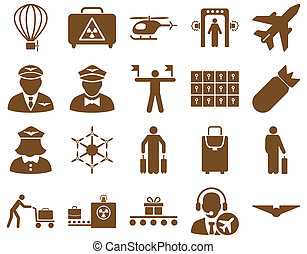 Airport Icon Set These flat icons use brown color Raster...