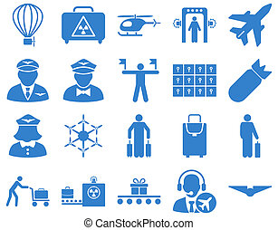 Airport Icon Set These flat icons use cobalt color Raster...