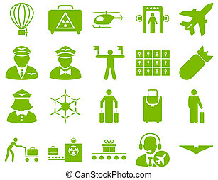 Airport Icon Set These flat icons use eco green color Raster...