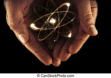 Atom Particle Hands - Atomic orbitting particle being held...