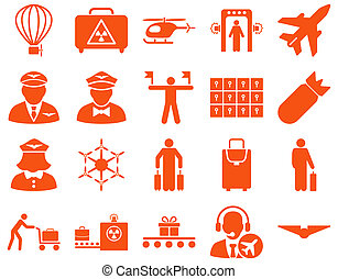 Airport Icon Set These flat icons use orange color Raster...