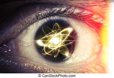 Atom Particle Eyes - Atomic particle reflection in the pupil...