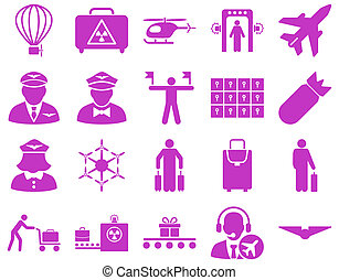 Airport Icon Set These flat icons use violet color Raster...