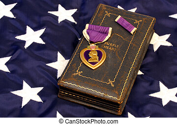 Vintage WWII purple heart on stars of American Flag