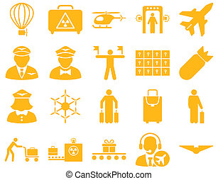 Airport Icon Set These flat icons use yellow color Raster...