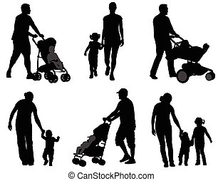 parents walking with their children