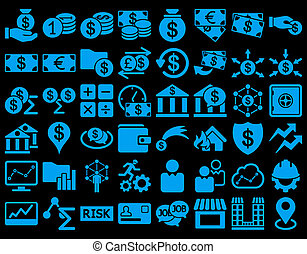 Business Icon Set. These flat icons use blue color. Raster...