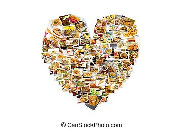 World Cuisine Collage Heart - Collage of lots of popular...