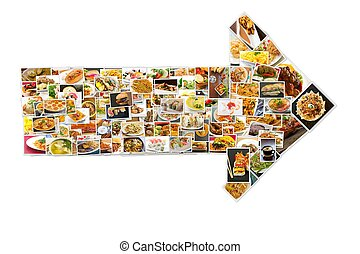 World Cuisine Collage Arrow - Collage of lots of popular...