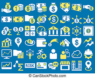 Business Icon Set. These flat bicolor icons use yellow and...