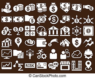 Business Icon Set. These flat icons use white color. Raster...