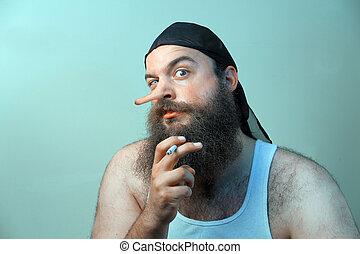 Redneck Liar - Intimidating redneck smokes cigarette as his...