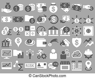 Business Icon Set. These flat bicolor icons use dark gray...
