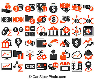 Business Icon Set. These flat bicolor icons use orange and...