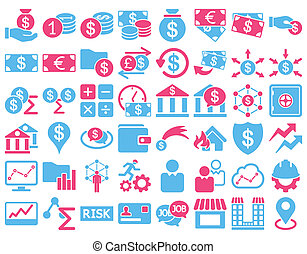 Business Icon Set. These flat bicolor icons use pink and...